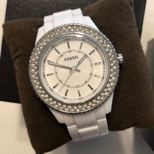 Stainless Steel White Fossil Watch 5 ATM